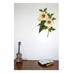 Design Your Wall - Hibiscus - Vintage Wall Decal - Flowers wilt, but this vintage-style Hibiscus decal will last forever!