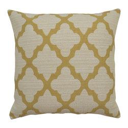 Yellow morrocan quatrefoil decorative pillow cover - One decorative pillow cover made to fit a size 18x18 pillow insert.