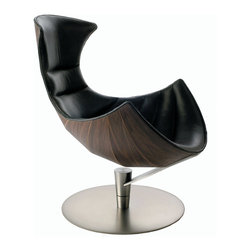 Fjords of Hjellegjerde - The Lobster, Design Icon Chair & Ottoman - The Lobster Chair is the most premium chair you will ever sit in. It is not only stylish and sleek. It is rock-solid and backed by a 10-Year Guarantee. This amazing piece of furniture is created by Artisans of Fjords in Norway. It is available in Black Passion Leather with Walnut Stained Wood shell.