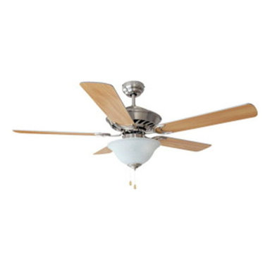 DHI-Corp - Monte Carlo 52-inch 1-Light 5-Blade Ceiling Fan, Beechwood or Silver Gray Blades - The Design House 153973 Monte Carlo 52-Inch 1-Light 5-Blade Ceiling Fan features a satin nickel finish with a rain glass shade that is ideal for any room in the house. Use the pull chain to control your 3-speed motor and toggle between three different speed settings. The (5) fan blades have a beechwood finish on one side and a silver grey finish on the other. Choose between close-up, 4-inch downrod or vaulted mount for angled ceilings. Run the motor in reverse to help conserve energy costs during all seasons. Blades can be run on the normal setting during the summer to create cooling air flow and on reverse in the winter to re-circulate warm air from the ceiling. This fan is UL listed, rated for 120-volts and features (3) 60-watt candelabra base incandescent lamps. Adaptable light kit is included. Measuring 52-inches, this fixture adds a dramatic accent to any home or condominium. Coordinate your home with the rest of the Monte Carlo collection, which features a beautiful matching pendant, chandelier, vanity and ceiling mount. The Design House 153973 Monte Carlo 52-Inch 1-Light 5-Blade Ceiling Fan comes with a 10-year limited warranty that protects against defects in materials and workmanship. Design House offers products in multiple home decor Categories including lighting, ceiling fans, hardware and plumbing products. With years of hands-on experience, Design House understands every aspect of the home decor industry, and devotes itself to providing quality products across the home decor spectrum. Providing value to their customers, Design House uses industry leading merchandising solutions and innovative programs. Design House is committed to providing high quality products for your home improvement projects.