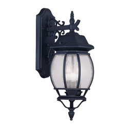"Livex Lighting - Livex Lighting 7903 Frontenac 20.75 Inch Tall Outdoor Wall Sconce - Livex Lighting 7903 Frontenac Three Light Outdoor Wall SconceShowcasing a regal style, the Frontenac three light 20.75"" tall top mount outdoor wall sconce features intricate scroll work, a tall decorative finial, and beautiful seeded glass that will enhance the appeal of the outside of your home.Livex Lighting 7903 Features:"
