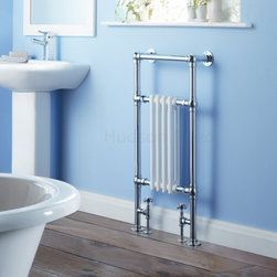 Hudson Reed - Traditional Hydronic Towel Warmer Radiator Rail Heated Rack & Valves - Constructed from durable, non-ferrous brass, with a high quality chrome finish, this hydronic towel warmer features three horizontal bars, giving an impressive heat output of 439 Watts. 10 year guarantee. Floor mounted, featuring  horizontal bars for drying towels, this traditional radiator brings a touch of class to any modern or period-style bathroom, en-suite or cloakroom suite. The 18.3 x 36.8 heated traditional towel radiator connects to your closed loop heating system via the Hudson Reed radiator valves, included in the price. Traditional Brass Heated Bathroom Towel Radiator 36.8 x 18.3 Details  Dimensions:  (H x W x D) 36.8 x 18.3 x 5.1 (935mm x 465mm x 130mm) Output:  439 Watts (1,500 BTUs) Number of columns: 2 deep by 4 sections, in white period style High quality chrome-plated surround made from 1.25 (32mm) brass Pipe Centres: 10.5 (265mm) Floor to Centre of Tapping: 4.1 (105mm) Wall to Centre of Tapping: 4 (100mm) Wall to Valve:  4.3 (110mm) (max distance) Fixing Pack Included Suitable for bathroom, cloakroom, kitchen etc. 10 Year Guarantee Please note:  Angled radiator valves are included with this product.  Buy now, to transform your bathroom, at an affordable price. Please Note: Our radiators are designed for hot water forced circulation closed loop systems only. They are not compatible with open loop, gravity or steam systems.