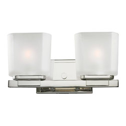 Z-Lite - Z-Lite 3003-2V Agra 2 Light Bathroom Vanity Lights in Chrome - A double vanity light displayed in square cube white frosted glass shades, finished in chrome for a fresh and modern look.