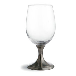 Verona Beverage Glass - A controlled, hourglass-shaped stem hand-wrought from authentic Italian pewter balances the crystal-clear cup of the Verona Beverage Glass. Sold in pairs for easy furnishing of a table or for attractive, memorable gifting, these beautiful glasses are the work of traditional artisans in Italy, where their bells were blown and their stems engraved for a perfectly-proportioned combination.