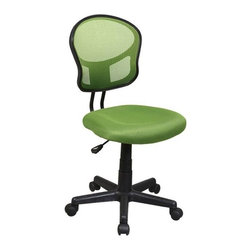 Office Star - Mesh Task Chair w Green Fabric - One touch Pneumatic seat height adjustment 360 Swivel. Heavy duty Nylon base with dual wheel carpet casters. Pictured in Green. Seat: 18 in. W x 17.25 in. D x 2 in. T. Back: 15.75 in. W x 16.25 in. H. Seat Travel: 4.5. Overall: 18 in. W x 22.5 in. D x 39.25 in. H (20 lbs.)