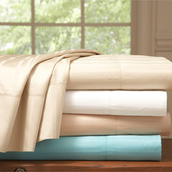 Pointehaven - Pointehaven 510 Thread Count Stripe Sateen Pima Cotton Sheet Set and Pillowcase - Sleep in luxurious comfort with these 510 thread count sheets,featuring a striped design to brighten any bedroom. Crafted with pure pima cotton,these soft sheets are available in several colors and can be purchased as a pillowcase only option.