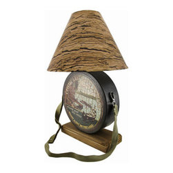 Distressed Metal Camp Canteen Table Lamp with Tree Bark Print Shade - This cool distressed finish metal camp canteen table lamp is the perfect accent to cabins, cottages or lodges. The front of the canteen has a print ad for Crystal Lake Canoe Rentals, and even has a nylon shoulder strap attached. It measures 18 inches tall, has an 9 inch by 3 3/4 inch wooden base, and comes with an 11 inch diameter shade with a tree bark print. The lamp uses a 40 watt (max) appliance style bulb (included), and has a black 4 foot long power cord. It makes a lovely gift that is sure to be admired.