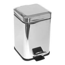 Gedy - Square Chrome Waste Bin With Pedal - Stylish, contemporary designed bathroom waste bin with pedal. Wastebasket, pedal, and cover are made out of brass with a polished chrome finish. Decorative bathroom trash container with lid and step pedal. Made in Italy by Gedy. Bathroom waste basket with pedal. Contemporary design. Made out of brass with a polished chrome finish. Bathroom trash bin with lid and step pedal. From the Gedy Argenta Collection. The front of the pedal to rear hitch is 8.46 inches.
