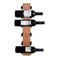 "Wine-Wall.com - Exibit-6 Wine Rack, Oak - The Exibit line of wood wine racks (availabe in 3 bottle or 6 bottle capacity) is our best selling wood wine rack. We've carefully selected each wood board to ensure a superior wood grain look. Each wine bottle sits safely within the ""saddles"" for a handsfree view of the wine label."