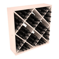 Solid Diamond Wine Storage Cube in Pine with White Wash Stain - Elegant diamond bin style bottle openings make for simple loading of your favorite wines. This solid wooden wine cube is a perfect alternative to column-style racking kits. Double your storage capacity with back-to-back units without requiring more access area. We build this rack to our industry leading standards and your satisfaction is guaranteed.