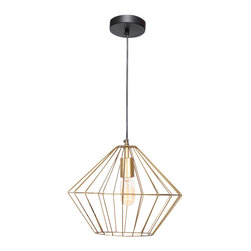 Empire Ceiling Fixture - This angular wire shade boasts an antique brass finish. 60 watts. Bulb not included.