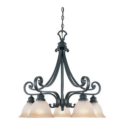 Designers Fountain - Designers Fountain Barcelona Traditional Chandelier X-IN-58169 - From the Barcelona Collection, this beautiful Designers Fountain chandelier features fluid curves and elegant scrollwork that draws the eye in. It comes finished in contrasting hues that add to the appeal, including a dark toned Natural Iron finish and five ochere glass shades.