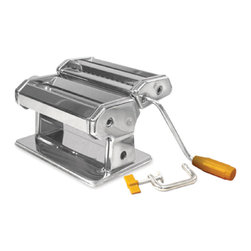"""Weston - Roma 6"""" Traditional Pasta Machine - Roma Traditional Style Pasta Machine. Adjustable rollers for multiple thickness settings. Heavy-duty construction and metal housing for a lifetime of use. Double cutting head for fettuccini and spaghetti. 6"""" wide rollers. C-Clamp to attach to countertop."""