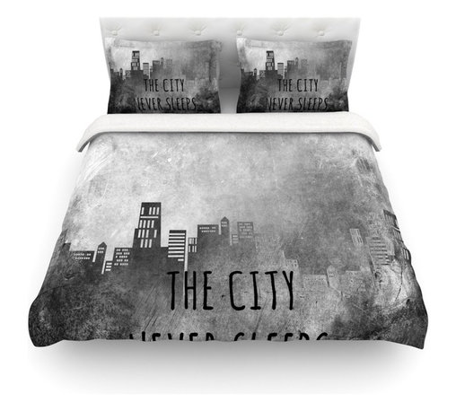"""Kess InHouse - Alison Coxon """"The City Never Sleeps"""" Cotton Duvet Cover (Twin, 68"""" x 88"""") - Rest in comfort among this artistically inclined cotton blend duvet cover. This duvet cover is as light as a feather! You will be sure to be the envy of all of your guests with this aesthetically pleasing duvet. We highly recommend washing this as many times as you like as this material will not fade or lose comfort. Cotton blended, this duvet cover is not only beautiful and artistic but can be used year round with a duvet insert! Add our cotton shams to make your bed complete and looking stylish and artistic! Pillowcases not included."""