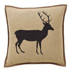 """VHC Brands - Barrington Burlap Buck Pillow - This pillow features a stenciled buck, measures 16""""x16"""" and is made from a 100% soft cotton burlap. The back features a 3"""" overlap with buttons to conceal pillow insert.Spot clean with a damp cloth."""