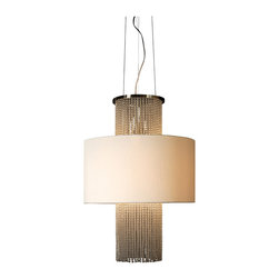 Trend Lighting - Waltz Round Chandelier - Add glowing texture and dimension to your space with this spectacular chandelier. The champagne silk shade surrounds brilliant strands of clear glass beads that hang loosely and create a shimmering effect throughout your room.