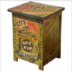 Pop Art Wisdom Words Mango Wood Night Stand End Table Cabinet - Add a little Americana to your interior design plans with our wild and wacky Pop Art End Table Cabinet. The solid hardwood night stand is painted avocado green and covered with words and messages that will keep everyone smiling.