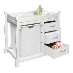 Badger Basket - Badger Basket Sleigh Changing Table with Hamper & Drawers - 02402 - Shop for Changing Tables from Hayneedle.com! Say goodbye to the look of a cluttered changing table! The Badger Basket Sleigh Changing Table with Hamper and Drawers keeps everything perfectly organized and tucked neatly out of sight. Use the large pull-out hamper for baby's dirty duds or for storing bulk items. The convenient drawers keep diapers wipes clothing and other changing necessities within easy reach. This changing table is as attractive as it is functional. The convenient changing table includes a vinyl covered foam changing pad and safety strap. The table top is surrounded by a softly edged rail and supported by a metal bar beneath the changing surface for extra security and stability. Wipes clean with mild soap and damp cloth. Hamper bag can be removed for washing. Illustrated step-by-step guide makes assembly a snap. Dimensions 37.5L x 19W x 37.5H inches.Badger Basket CompanyFor over 65 years Badger Basket Company has been a premier manufacturer of baskets bassinets bassinet bedding changing tables doll furniture hampers toy boxes and more for infants babies and children. Badger Basket Company creates beautiful and comfortable products that are continually updated and refreshed bringing you exciting new styles and fashions that complement the nostalgic and traditional products in the Badger Basket line.