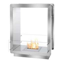 Ignis - Ignis Bio Ethanol Fireplace insert FB1212-D Firebox - The FB1212-D Ethanol Burning Firebox is the latest in patented fireplace technology by Ignis Development. Ideal for installation in a smaller space or custom case good, this ethanol fireplace insert was built with the utmost in safety and quality in mind. Constructed of solid grade 304 polished stainless steel, this firebox is built with double wall construction, each of 3mm thickness, and further insulated with a patented rock wool insulation, making this ethanol firebox heat resistant, thus one of the safest available today. This heavy duty, zero clearance fireplace was designed for easy installation and ease of use. Using the surrounding flange, simply build into the wall, existing hearth or custom surround. Because ethanol burns clean, there is no need for special ventilation. Double-sided, the FB1212-D Fire Box may be used as a fiery divider between two rooms and enjoyed by all. Two wind screens of tempered glass add additional security and visual appeal.