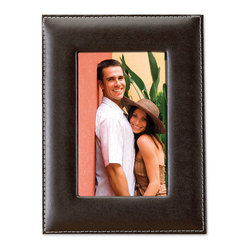 Lawrence Frames - Dark Brown Leather 5x7 Picture Frame - Dark brown bonded leather frame with delicate outer edge stitching. High quality 5x7 leather picture frame comes individually boxed. Includes beautiful black velvet easel backing for tabletop display.