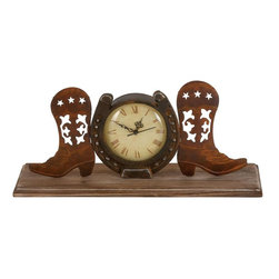 Benzara - Boot Clock in Copper and Antique Shades with Unique Design - A blend of functionality and style, this Metal Boot Clock in Copper and Antique Shades with Unique Design is a perfect home accessory .A timeless table clock with intriguing design work can always lift the mood of any decor setting. Its copper and antique shades lend a very balanced look compared to the other similar products. A product that promises to last long, it flaunts a versatile and sturdy design. This elegant table clock features a unique design with pair of boots on both sides and is designed on a horse shoe giving it a rather cowboy appeal. The dial of this classical pieces features roman numbers in rich brown which makes it even more appealing and striking.