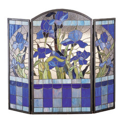 Meyda Tiffany - Meyda Tiffany Iris Fireplace Screen Tiffany Glass X-63272 - The elegant floral patterning and vivid hues create style and flair from this Meyda Tiffany Tiffany glass fireplace screen. The iris flowers feature beautiful shades of dark lavender, while a clear textured backdrop allows focus to remain on the beautiful details. Sky blue accenting and spring green leaves complete the look. Features 371 pieces of stained art glass, solid brass framing and durable traditional copperfoil construction.