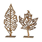 Uttermost - Hazuki Metal Sculpture, Set of 2 - This set of leaf sculptures is like Haiku in hand-forged metal. Simple, elegant and needing no explanation, these few graceful lines are finished in a distressed gold leaf with dark espresso undertones.