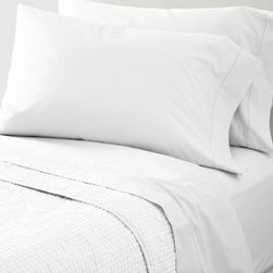 Garnet Hill - Garnet Hill Hemstitched Supima Percale Sheets - California King - Fitted - White - Heirloom-inspired in every way and woven of pure Supima cotton combed to remove all but the finest long-staple fibers, this 300 thread count cotton bedding possesses the soft yet crisp hand craved by enthusiasts of classic percale. The flat sheet, cases and bedskirt are embellished with timeless hemstitch details. The fitted sheet is fully elasticized for a better fit (deep-pocket Queen, King and California King sizes will fit mattresses up to 15 inches deep).