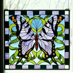 Meyda - 25 Inch W X 23 Inch W Purple Butterfly Window Windows - Color Theme: Blue Pr