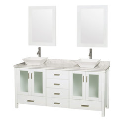 "Wyndham Collection - Lucy 72"" White DBL Vanity, Carrera Marble Top, White Porcelain Sinks, 24"" Mrrs - The Lucy double bathroom vanity by Wyndham Collection is as beautiful as it is functional. The modern design puts a visual emphasis on clean lines, luxurious natural marble, abundant storage for two, and is at home in almost every bathroom decor. Included in the Lucy double bathroom vanity are either solid White Carrera Marble or Ivory Marble counters, a multitude of sink options, and a pair of matching Mrrs. Featuring soft-close door hinges, you'll never hear a door slam shut again! Sure to inspire imitators, the original Wyndham Collection sets new standards for design and construction."