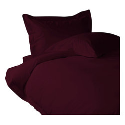 400 TC Duvet Set with 1 Flat Sheet Solid Wine, Queen - You are buying 1 Duvet Cover (88 x 88 inches), 1 Flat Sheet (98 x 102 inches) and 2 Standard Size Pillowcases (20 x 30 inches) Only.