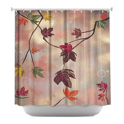 DiaNoche Designs - Autumn Luxury I Shower Curtain - Sewn reinforced holes for shower curtain rings. Shower curtain rings not included. Dye Sublimation printing adheres the ink to the material for long life and durability. Machine washable. Made in USA.