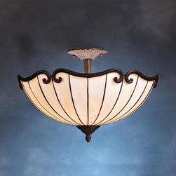 Joshua Marshal - Two Light Tannery Bronze W/ Gold Accent Bowl Semi-Flush Mount - Two Light Tannery Bronze W/ Gold Accent Bowl Semi-Flush Mount