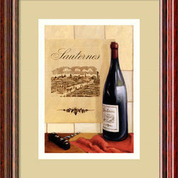 "Amanti Art - Sauternes Framed Print by David Marrocco - Oenophiles — that's ""wine lovers"" to the uninitiated — rejoice! This jolly illustration of a bottle of Sauternes is matted, framed and ready to decorate your wine cellar. Its charming visual style and elegant proportions makes it a stellar addition to your collection of wine accessories and decor."
