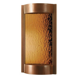 """Bluworld Innovations, LLC - Contempo Solare Wall Fountain 36""""H x 19""""W Dark Copper with Bronze Mirror - Dark Copper powder coat with a bronze mirror. The Contempo series wall fountains are a wonder to look at and listen to. The sleek style and simplistic design are sure to modernize any living environment. These wall fountains will bring you many years of relaxation and stress relief. Designed to mount easily to drywall with a single bracket and included hardware."""
