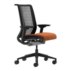 "Steelcase - Think Chair in 3D Fabric - Black/Color | Steelcase - So simple, you don't even have to think about it. The Think Chair by Steelcase is intelligent enough to understand how you sit and adjust itself intuitively. Because the seat is weight-activated and the back moves with your body, any body can get comfortable. The Think Chair has just a few manual adjustments — and they don't require a manual to explain. Every stage of the Think Chair's life has been considered — from materials extraction through production, shipping, use, and end of life. The result is a chair that is lightweight, consists of up to 37% recycled material and is up to 98% recyclable. The environmental steps taken during the development of Think led the way for future products. The Think Chair was the first ever Cradle to Cradle® certified product and is available with Gold level certification. In 2009 the Think Chair became the first product ever to be level™ 3 certified to the BIFMA e3 sustainability standard. Think is SCS Indoor Advantage™ certified for indoor air quality and may help contribute toward LEED certification. Product Features:  Back flexors track with the natural movement of your spine and pelvis Each flexor is individually contoured to provide optimum support for each area of the back with no pressure points Seat flexors conform to your shape, providing a dynamic comfort pocket that can adapt to the body as posture changes Weight-activated mechanism provides recline support in proportion to your own body weight, while keeping you oriented to your work Comfort dial combines four comfort settings in one simple control Think Chair in 3D Fabric - Black/Color features an upholstered fabric seat with a Black 3D Knit backrest 5"" pneumatic seat-height adjustment (7"" pneumatic seat-height adjustment is available as an option) 4-way adjustable arms (height, width, pivot and depth) 2"" seat depth adjustment, and a flexible seat edge that relieves pressure on the back of your legs as you recline/lean forward Five-arm swivel base, with optional polished aluminum finish, has 2½"" diameter hard-composition, dual-wheel casters Optional soft casters for hard floors available Standard frame finish is black with an optional platinum finish available Designed to accommodate multiple users of various sizes with a maximum weight capacity of 300 lbs. Arrives fully assembled and includes the manufacturer's limited lifetime warranty"