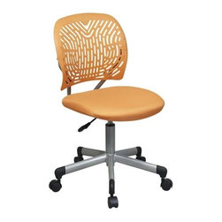 "Office Star - Designer Task Chair in Orange - Orange colorOne touch pneumatic seat height adjustment360� swivelHeavy duty base with dual wheel carpet casters and black endcapsSeat Size: 19 in. W x 18 in. D x 2.5 in. TBack Size: 18 in. W x 15.5 in. HOverall Size: 19""W x 18""D x 18.75-23""H"