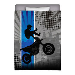 Extremely Stoked - Eco Friendly Made In USA Motocross Twin Comforter - Get Extremely Stoked and Dream In Extreme With This Twin Premium Comforter From Our Extreme Sports MX Bedding and Motocross Bath Collection.