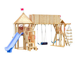 CedarWroks - CedarWorks Frolic 3 Swingset - CedarWorks Frolic 3 wooden swing set is made from chemical-free, splinter-free Northern White Cedar for which CedarWorks is famous. With countless play features, this backyard playset includes a Scoop Slide, Deluxe Angled Climbing Wall, Rope n' Bucket, Cedar Stairway, Helping Handles, Sky Bridge, Tire Swing, Poly Swing (2), Step Ladder, Yardarm, Rollicking Roundabout and Gazebo.