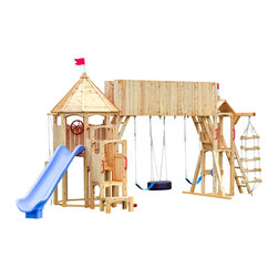 Kids playsets swing sets find outdoor playset and swing for Wooden swing set with bridge