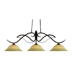 """Three Light Bronze Golden Mottle Glass Pool Table Billiard Light - Bold flowing curves define this three light fixture. Finished in bronze, this fixture uses warm glowing gold mottle glass shades to create a contemporary, yet classic look. This fixture includes 72"""" of chain on both sides to ensure a perfect hanging height."""