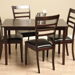 Warehouse of Tiffany - Crystal 5-piece Wood and Leather Dining Furniture Set - Enjoy an intimate and elegant dinner with this five-piece oak dining set that goes with any decor. With a dark finish, the black leather-upholstered chairs add a polished look, while the table is big enough to comfortably set a table for four.