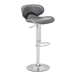 Zuo Modern - Fly Barstool Gray - With high back and plush seat, the Fly has the most comfort for a barstool. It has a leatherette seat, a hydraulic piston, and an chrome plated foot rest and steel base.