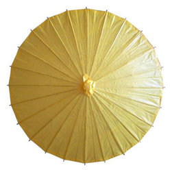Oriental-Décor - Brilliant Yellow Parasol - Be careful not to get confused with the sun while holding our Brilliant Yellow Parasol!  With its intricate, textured design and bold color, this paper umbrella will ensure that you are the talk of your next big event.  Your friends will be asking you all day where you got such a perfect fashion accessory.  Delight in importing one of Chinas great trends; Chinese women love using paper umbrellas to help shade themselves against the harsh rays of the sun.  Constructed of oiled paper and wood, these parasols look delicate, but are built to last.  Use our Brilliant Yellow Parasol and you will be bathed in a warm yellow glow.  Its a unique and playful complement to your summertime wardrobe.  Our paper parasols come in shapes, colors and patterns to meet all of your fashion needs.  They are an affordable accessory that will help you bring a touch of class to any afternoon affair.  Capture the essence of casual seduction on your next romantic, riverside stroll, and turn any ordinary walk into a great memory.  It