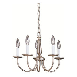 BUILDER - BUILDER Transitional Chandeliers X-IN0771 - Influence by the early colonial times, this chandelier provides excellent craftsmanship and classic design. The Kichler Lighting Transitional chandelier features a shimmering brushed nickel finish for a sleek, graceful look. This five-light chandelier provides a traditional touch with its candelabra style and faux candle lights.