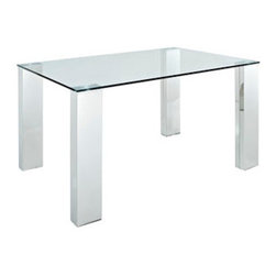 """LexMod - Staunch Dining Table in Silver Clear - Staunch Dining Table in Silver Clear - Hasten a forceful and compelling drive with the 4 Post Glass Top Dining Table. Four prominent stainless steel legs support a tempered glass top in a display or determination and action. Conquer your environment as you open the window of opportunity. Set Includes: One - Staunch Glass Top Dining Table with Stainless Steel Legs Elegant modern style, Transparent glass tabletop, Ideal for fashionable dinning rooms Overall Product Dimensions: 63""""L x 35.5""""W x 30""""H - Mid Century Modern Furniture."""