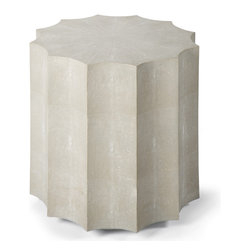 Kathy Kuo Home - Docher Rustic Lodge Ivory Grey Shagreen Scalloped End Table - A distinctly sensual, contemporary piece, this faux shagreen scalloped edge end table delivers serious style points alone or in a pair.  Pairing modern lines and a luxe texture, this ivory beauty is perfect for any modern space.