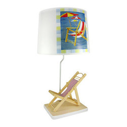 Beach Chair Table Lamp W/ Printed Shade Surf Decor - rThis beautiful natural finish wooden beach chair table lamp features a cloth seat. Measuring 28 inches tall, the 14 inch diameter, 11 inch tall tube style lampshade has a printed color beach chair design. It`s perfect for display at beach homes, or in any room with a beach or nautical theme. The neck of the lamp is white enamel painted metal tubing, and it has a 5 foot long white power cord.