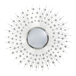 """Kathy Kuo Home - Orlon Modern Silver Convex Starburst Round 36""""D Mirror - A great piece of modern wall art, this convex sunburst mirror draws attention and light with aplomb.  As perfect in a Palm Springs mid century home as it would be in an uptown apartment, we love the sculptural play of light and motion it creates."""