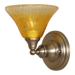 "Toltec - Toltec 40-BN-770 Brushed Nickel Finish Wall Sconce with 7"" Wine Crystal Glass - Toltec 40-BN-770 Brushed Nickel Finish Wall Sconce with 7"" Wine Crystal Glass"